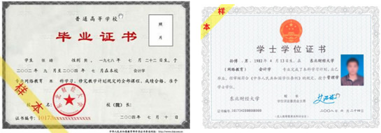毕业证书与学位证书样本